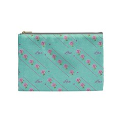 Love Flower Blue Background Texture Cosmetic Bag (medium)