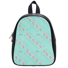 Love Flower Blue Background Texture School Bags (small)