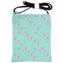 Love Flower Blue Background Texture Shoulder Sling Bags