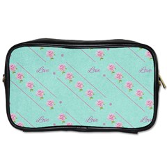 Love Flower Blue Background Texture Toiletries Bags 2 Side