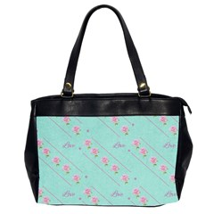Love Flower Blue Background Texture Office Handbags (2 Sides)