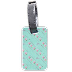 Love Flower Blue Background Texture Luggage Tags (One Side)