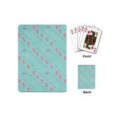 Love Flower Blue Background Texture Playing Cards (mini)