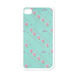 Love Flower Blue Background Texture Apple Iphone 4 Case (white)