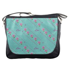 Love Flower Blue Background Texture Messenger Bags