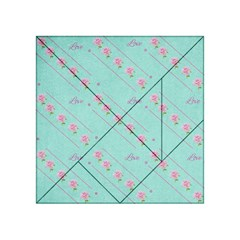 Love Flower Blue Background Texture Acrylic Tangram Puzzle (4  X 4 )