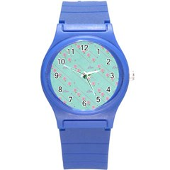 Love Flower Blue Background Texture Round Plastic Sport Watch (s)