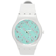 Love Flower Blue Background Texture Round Plastic Sport Watch (m)