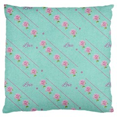 Love Flower Blue Background Texture Large Cushion Case (one Side)