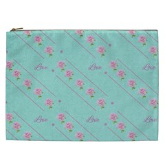 Love Flower Blue Background Texture Cosmetic Bag (xxl)