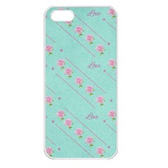 Love Flower Blue Background Texture Apple Iphone 5 Seamless Case (white)