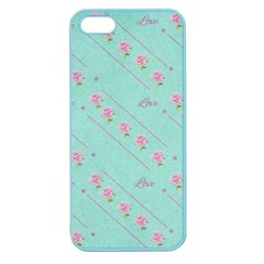 Love Flower Blue Background Texture Apple Seamless iPhone 5 Case (Color)