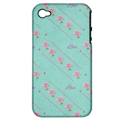 Love Flower Blue Background Texture Apple Iphone 4/4s Hardshell Case (pc+silicone)