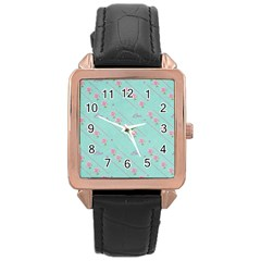 Love Flower Blue Background Texture Rose Gold Leather Watch