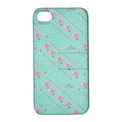 Love Flower Blue Background Texture Apple Iphone 4/4s Hardshell Case With Stand