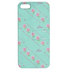 Love Flower Blue Background Texture Apple iPhone 5 Hardshell Case with Stand