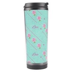 Love Flower Blue Background Texture Travel Tumbler