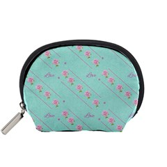 Love Flower Blue Background Texture Accessory Pouches (small)