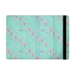 Love Flower Blue Background Texture Ipad Mini 2 Flip Cases