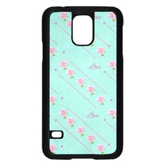 Love Flower Blue Background Texture Samsung Galaxy S5 Case (black)