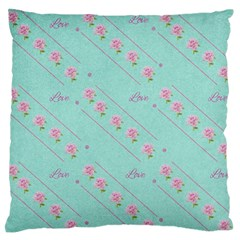Love Flower Blue Background Texture Large Flano Cushion Case (one Side)
