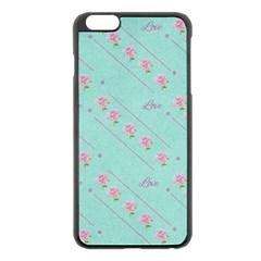Love Flower Blue Background Texture Apple Iphone 6 Plus/6s Plus Black Enamel Case
