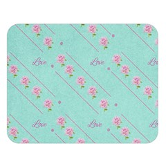 Love Flower Blue Background Texture Double Sided Flano Blanket (large)