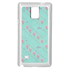 Love Flower Blue Background Texture Samsung Galaxy Note 4 Case (white)
