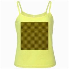 Pattern Background Diamonds Plaid Yellow Spaghetti Tank