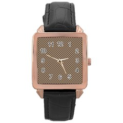 Pattern Background Diamonds Plaid Rose Gold Leather Watch
