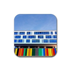 Office Building Rubber Square Coaster (4 Pack)