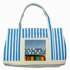 Office Building Striped Blue Tote Bag