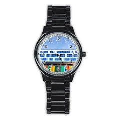 Office Building Stainless Steel Round Watch