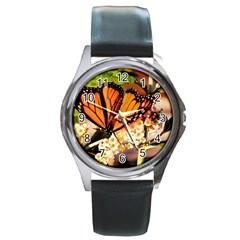 Monarch Butterfly Nature Orange Round Metal Watch