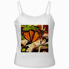 Monarch Butterfly Nature Orange White Spaghetti Tank