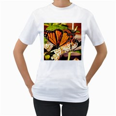 Monarch Butterfly Nature Orange Women s T Shirt (white) (two Sided)