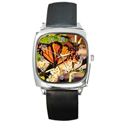 Monarch Butterfly Nature Orange Square Metal Watch