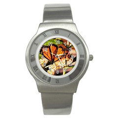 Monarch Butterfly Nature Orange Stainless Steel Watch