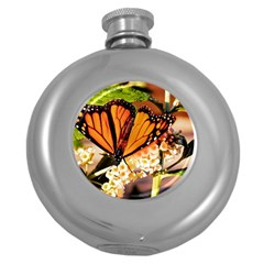 Monarch Butterfly Nature Orange Round Hip Flask (5 Oz)