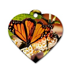 Monarch Butterfly Nature Orange Dog Tag Heart (two Sides)