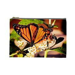 Monarch Butterfly Nature Orange Cosmetic Bag (large)