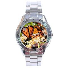 Monarch Butterfly Nature Orange Stainless Steel Analogue Watch