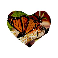 Monarch Butterfly Nature Orange Standard 16  Premium Heart Shape Cushions