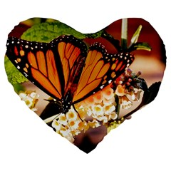 Monarch Butterfly Nature Orange Large 19  Premium Heart Shape Cushions