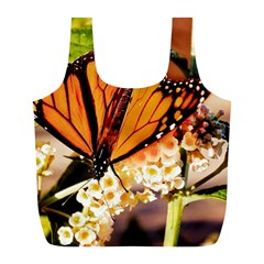 Monarch Butterfly Nature Orange Full Print Recycle Bags (l)