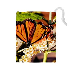 Monarch Butterfly Nature Orange Drawstring Pouches (large)