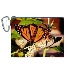 Monarch Butterfly Nature Orange Canvas Cosmetic Bag (xl)