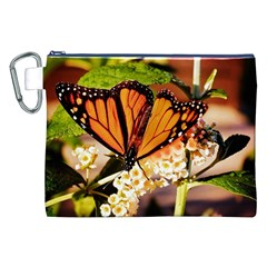 Monarch Butterfly Nature Orange Canvas Cosmetic Bag (xxl)