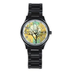 A Glowing Night Stainless Steel Round Watch