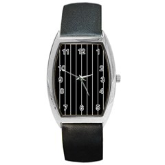 Black and white lines Barrel Style Metal Watch